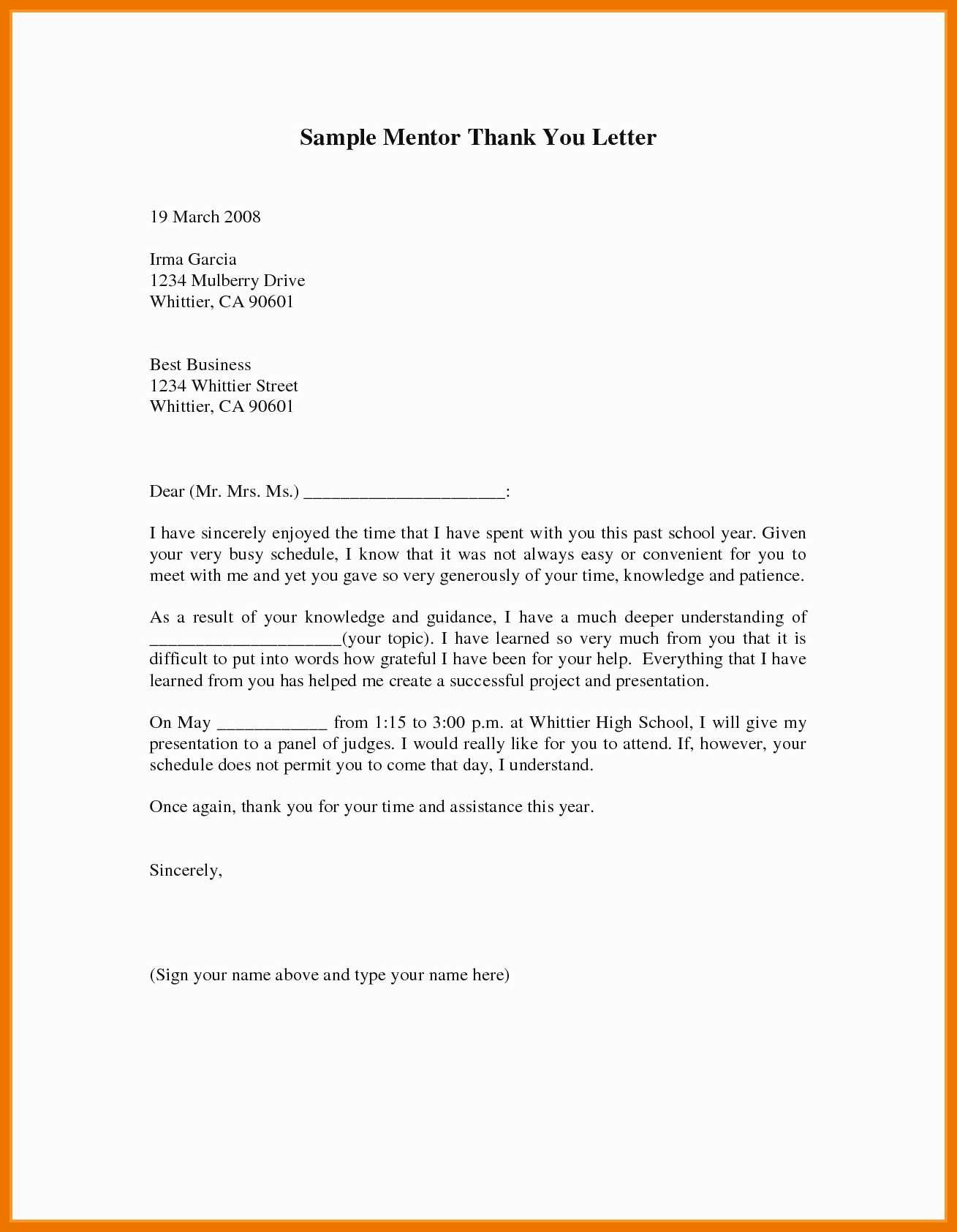 Thank You Note to Mentor Fresh 9 10 Thank You Letters to Mentors