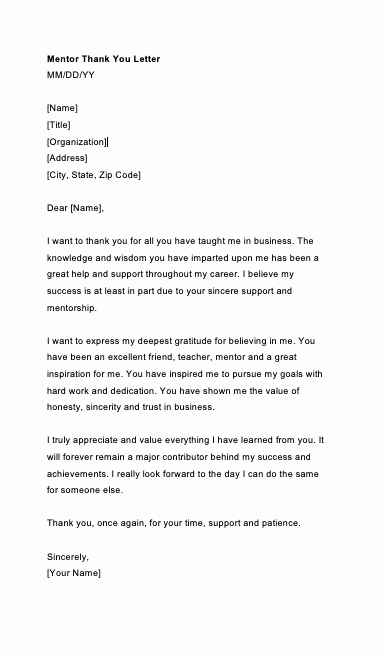Thank You Note to Mentor Inspirational Thank You Letter to Mentor Teacher