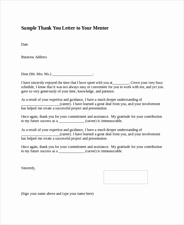 Thank You Note to Mentor Lovely Sample Thank You Letter format 8 Examples In Word Pdf