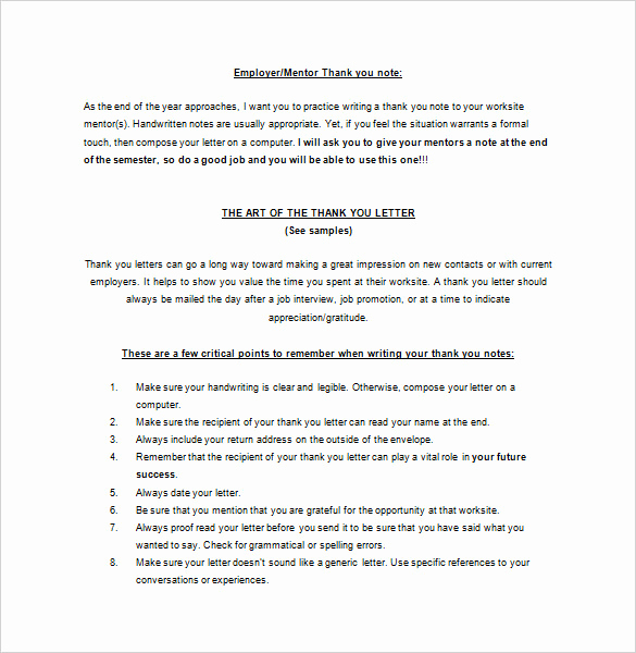 Thank You Note to Mentor Luxury Thank You Letter to Mentor – 9 Free Sample Example