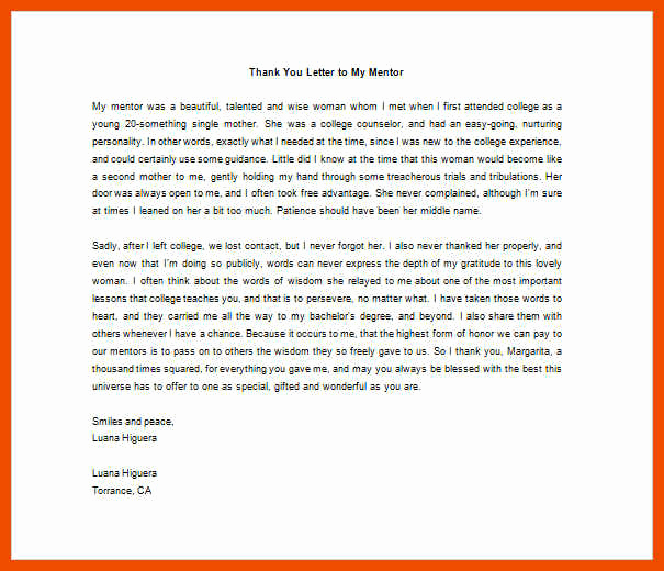 Thank You Note to Mentor New 5 6 Thank You Mentor