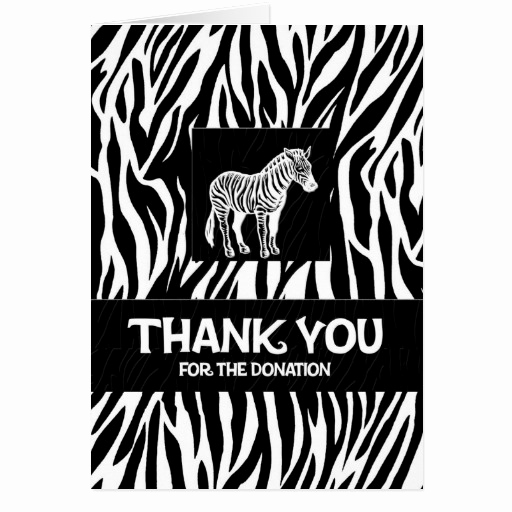 "Thank You Notes for Donations Elegant Zebra Print 4""x5 6"" Donation Thank You Notecard Stationery"