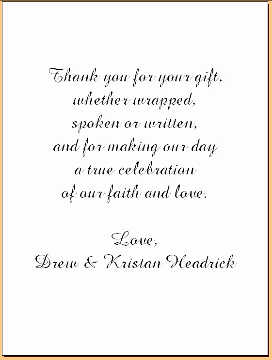 Thank You Notes Samples Lovely Wedding Thank You Note Examples