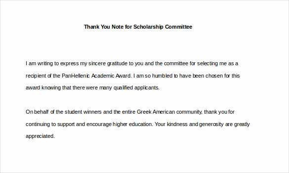 Thank You Scholarship Letter Inspirational 9 Thank You Notes for Scholarship – Free Sample Example