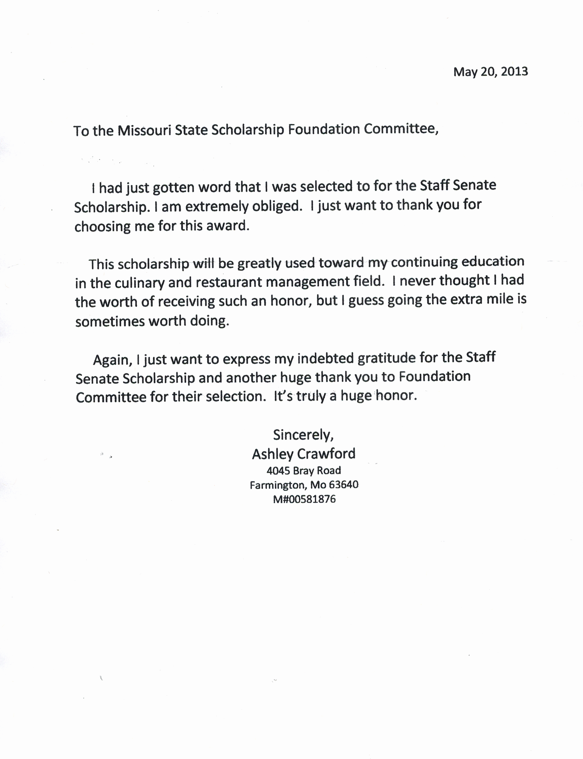 Thank You Scholarship Letter Luxury Scholarship Recipients Staff Senate Missouri State