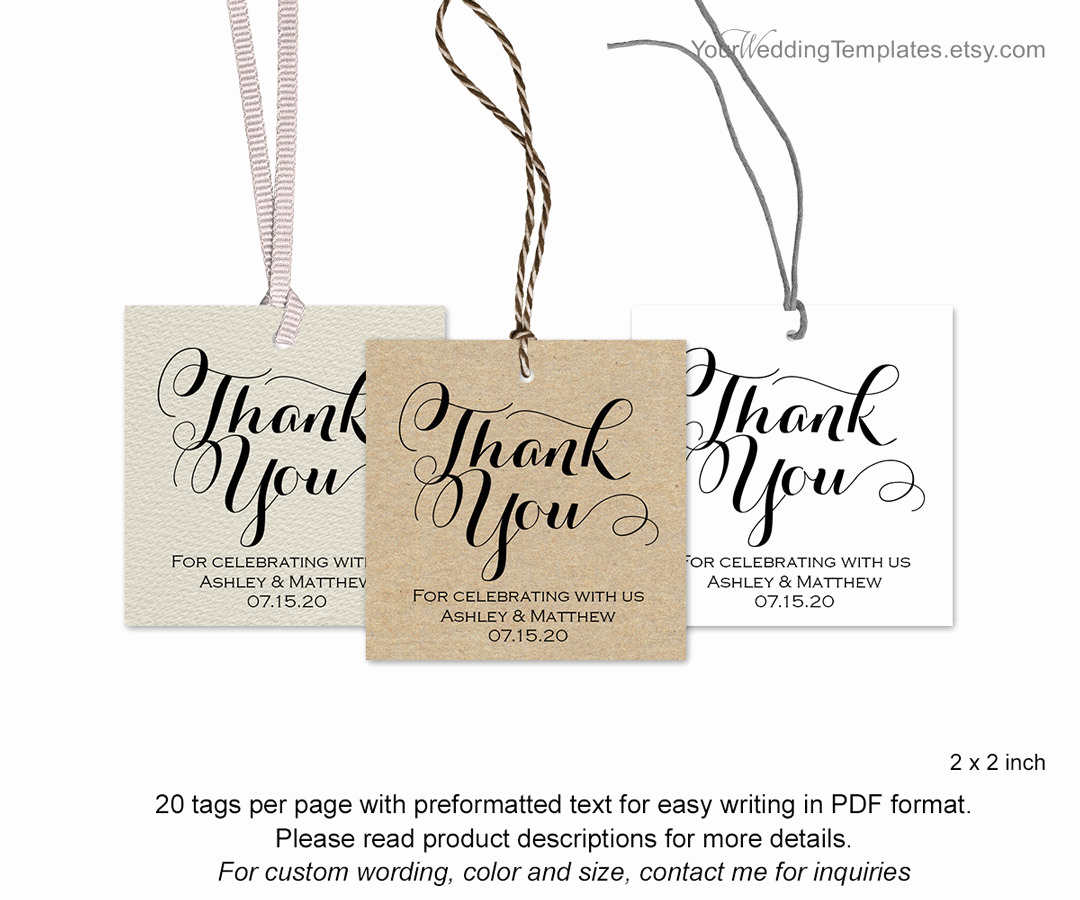Thank You Tag Template Awesome Modern Thank You Tags Wedding Favor Thank You Tags Diy