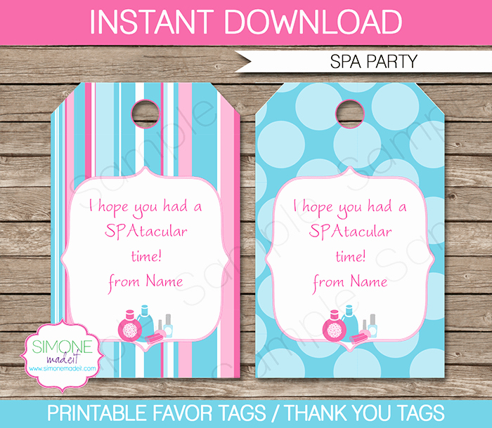 Thank You Tag Template Awesome Spa Party Favor Tags Template