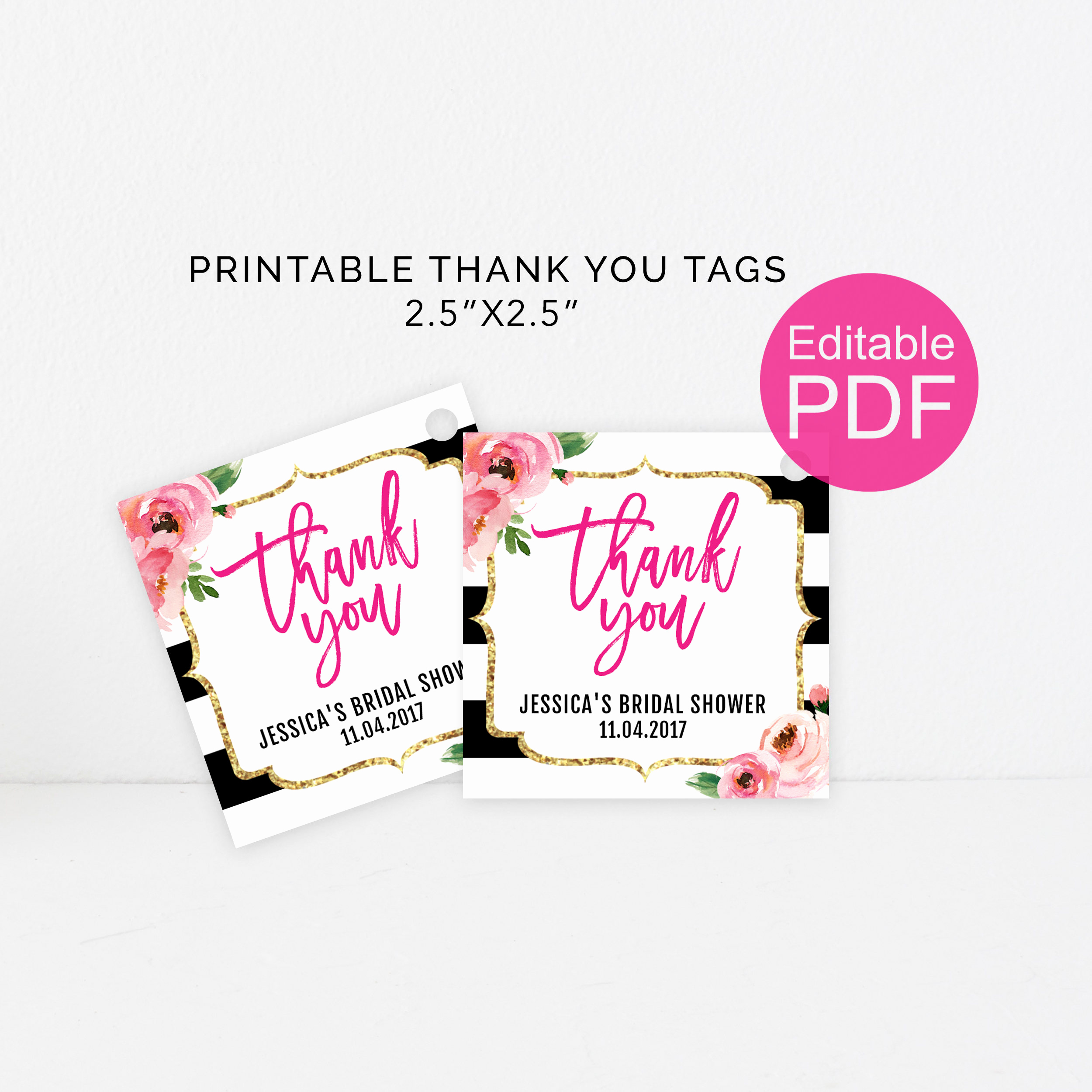 Thank You Tag Template Best Of Kate Thank You Tags Template Diy Floral Thank You Tag Kate