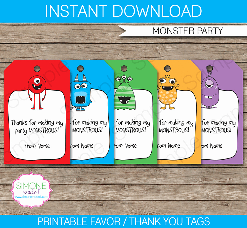 Thank You Tag Template Best Of Monster Party Favor Tags Thank You Tags