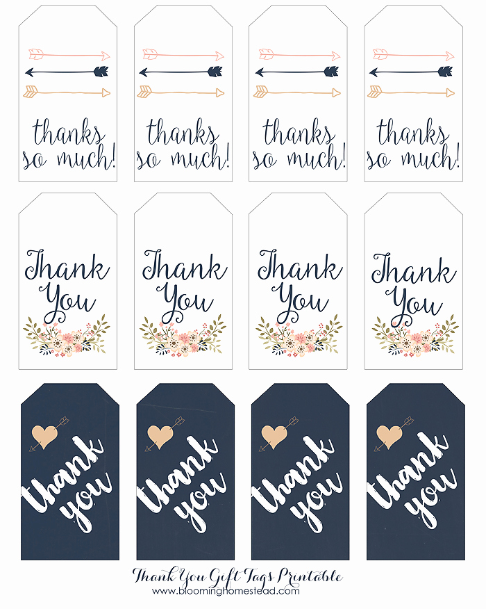 Thank You Tag Template Elegant Thank You Gift Tags Blooming Homestead