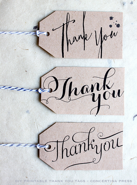 Diy printable thank you t tags