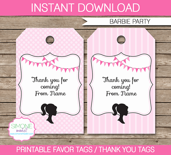 Thank You Tag Template Luxury Barbie Party Favor Tags Template