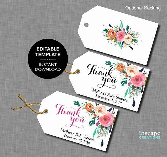 Thank You Tag Template Luxury Editable Baby Shower Favor Tags Editable Template Thank