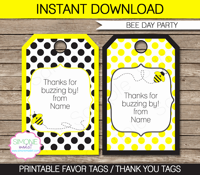Thank You Tag Template New Bee Party Favor Tags Template