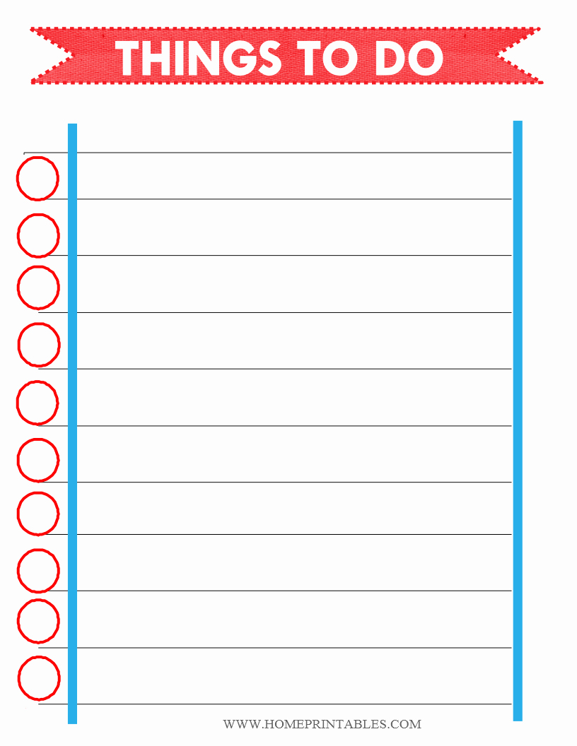 Things to Do List Template Awesome Free Printable to Do List Home Printables