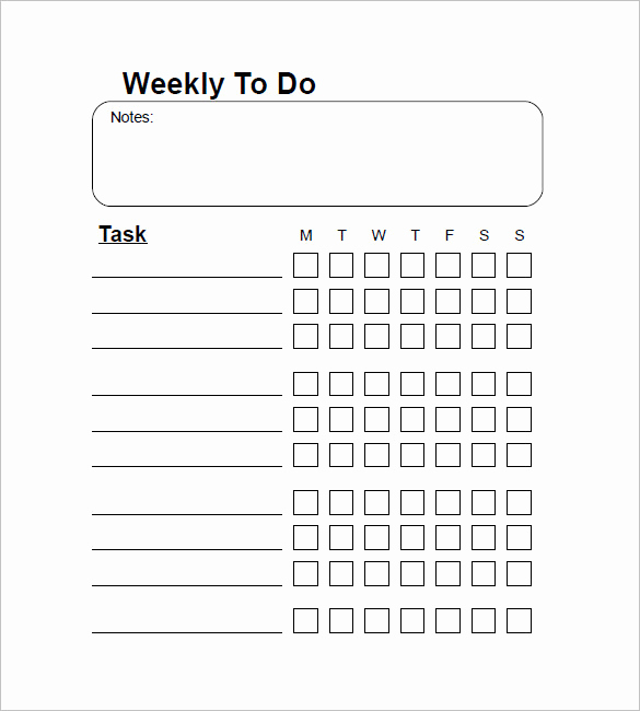 Things to Do List Template Elegant Weekly to Do List Template 6 Free Word Excel Pdf