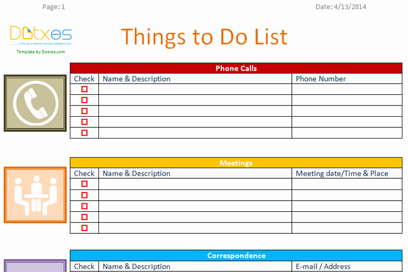 Things to Do List Template Inspirational to Do List Template Business Version Dotxes