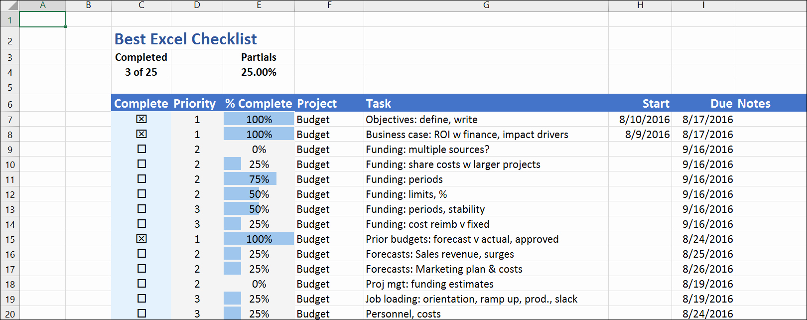 To Do List Template Excel New the Best Excel Checklist