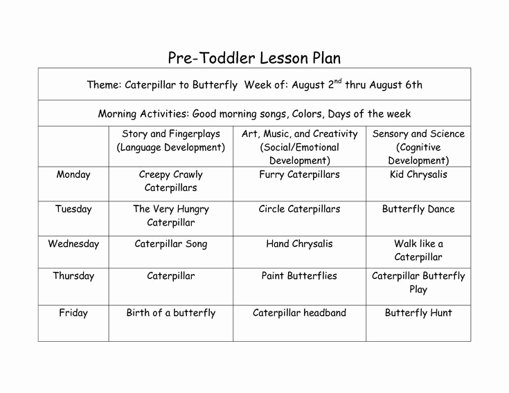 Toddler Lesson Plan Ideas Awesome Pre toddler Lesson Plan