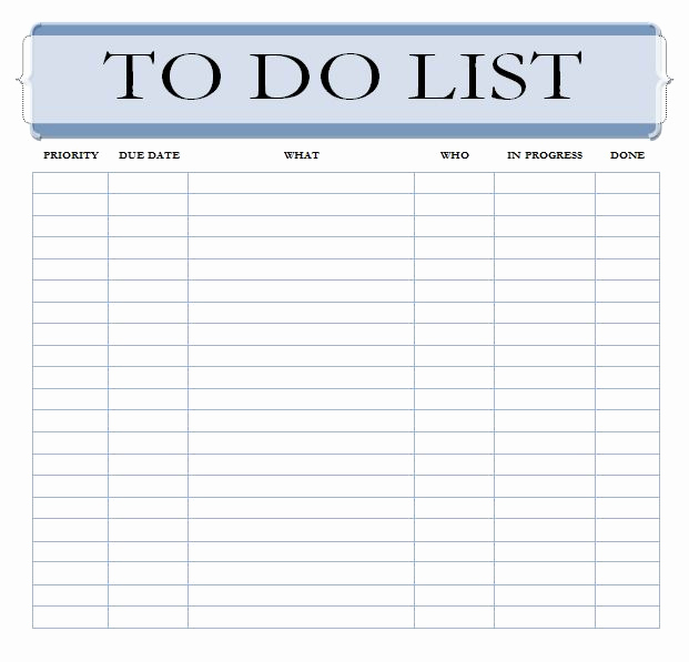 Todo List Template Word Fresh Editable to Do List Template