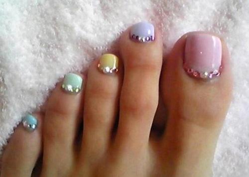 Toe Nail Art Designs Best Of toe Nail Art Using Rhinestones Alldaychic
