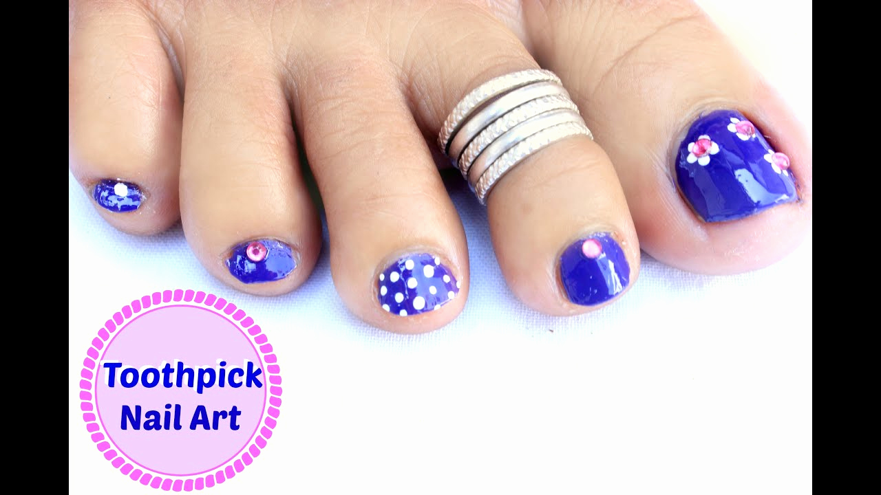 Toe Nail Art Designs Unique Easy and Quick toe Nail Art Design Using toothpick
