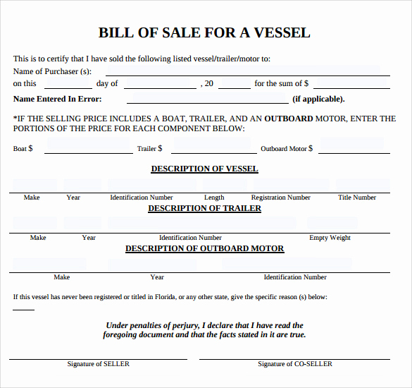 Trailer Bill Of Sale Template Lovely 8 Boat Bill Of Sale Templates to Free Download