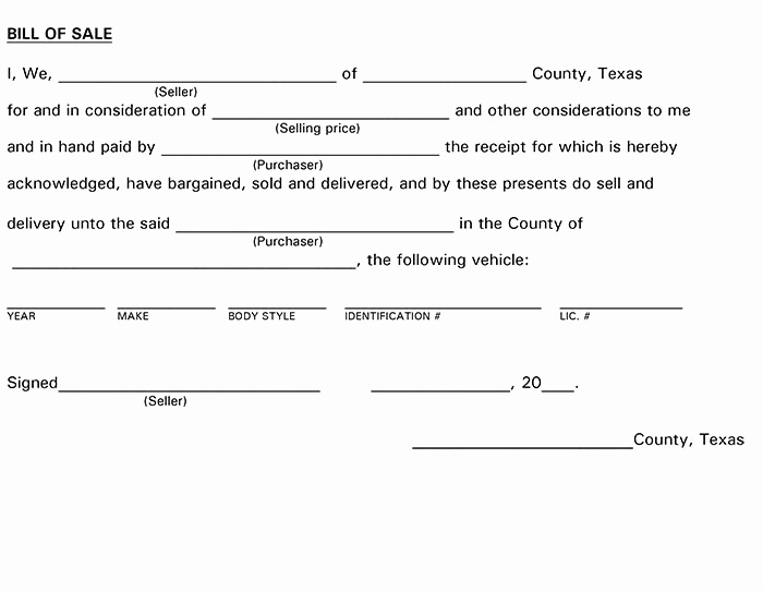Trailer Bill Of Sale Texas Awesome Texas Bill Of Sale form
