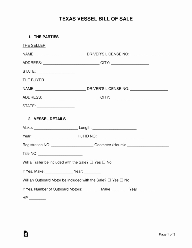 Trailer Bill Of Sale Texas Fresh Free Texas Boat Bill Of Sale form Word Pdf