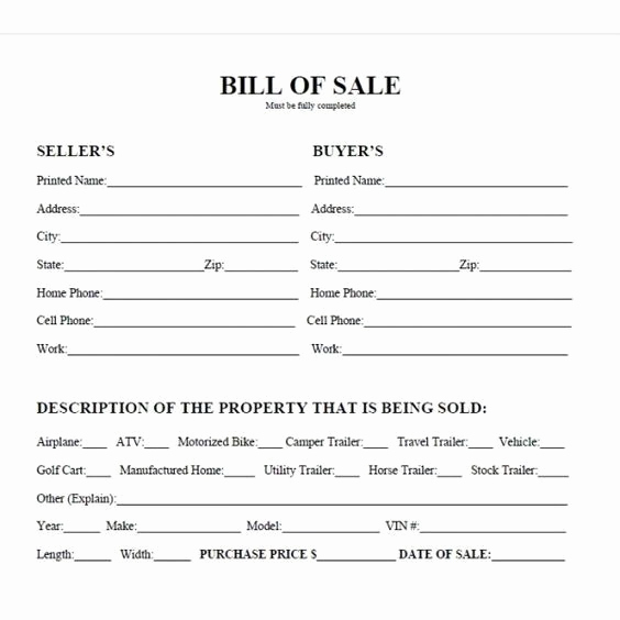 Trailer Bill Of Sale Texas Fresh Printable Car Bill Of Sale Pdf