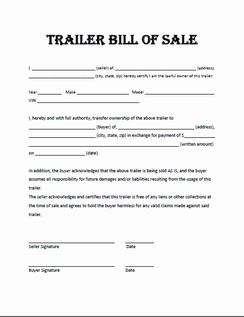 Trailer Bill Of Sale Texas Luxury Trailer Bill Sale