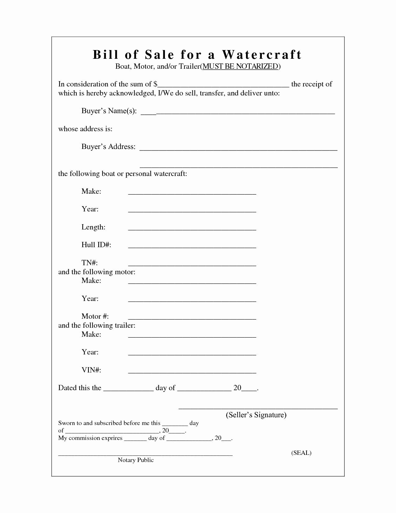 Trailer Bill Of Sale Texas New Free Printable Camper Bill Of Sale form Free form Generic