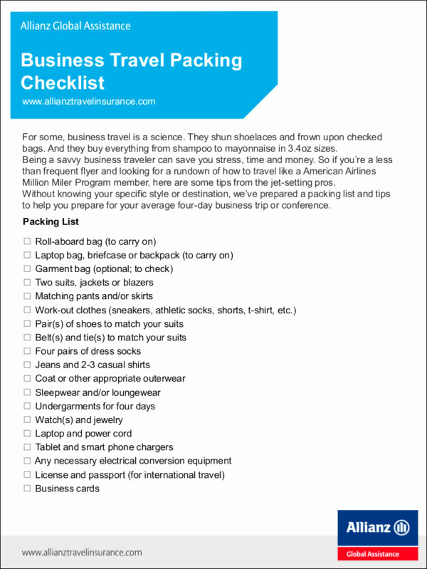 Travel Packing Checklist Pdf Awesome Effective Vacation and Travel Checklist