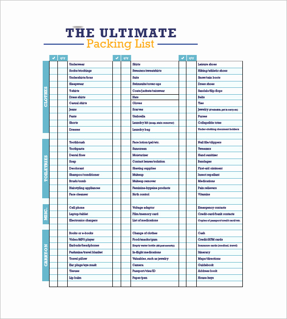 Travel Packing Checklist Pdf Beautiful Packing List Template 10 Free Word Excel Pdf format