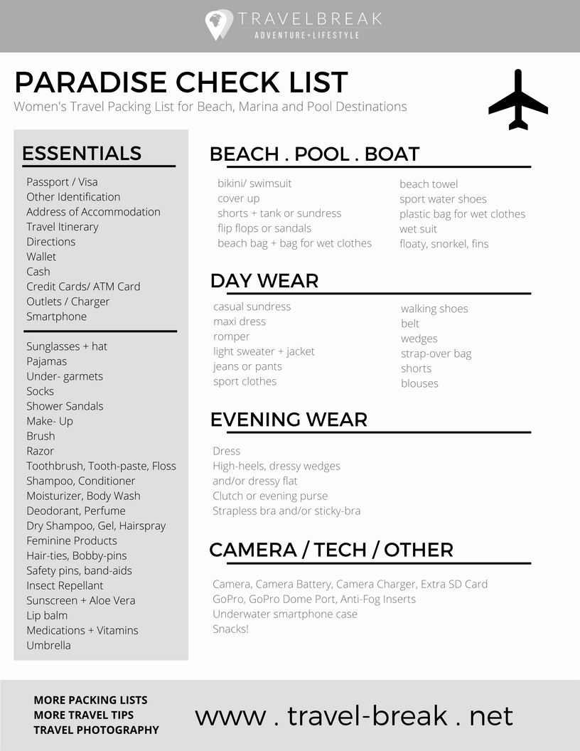 Travel Packing Checklist Pdf Beautiful Women S Beach Packing List Planning Guide • Travelbreak