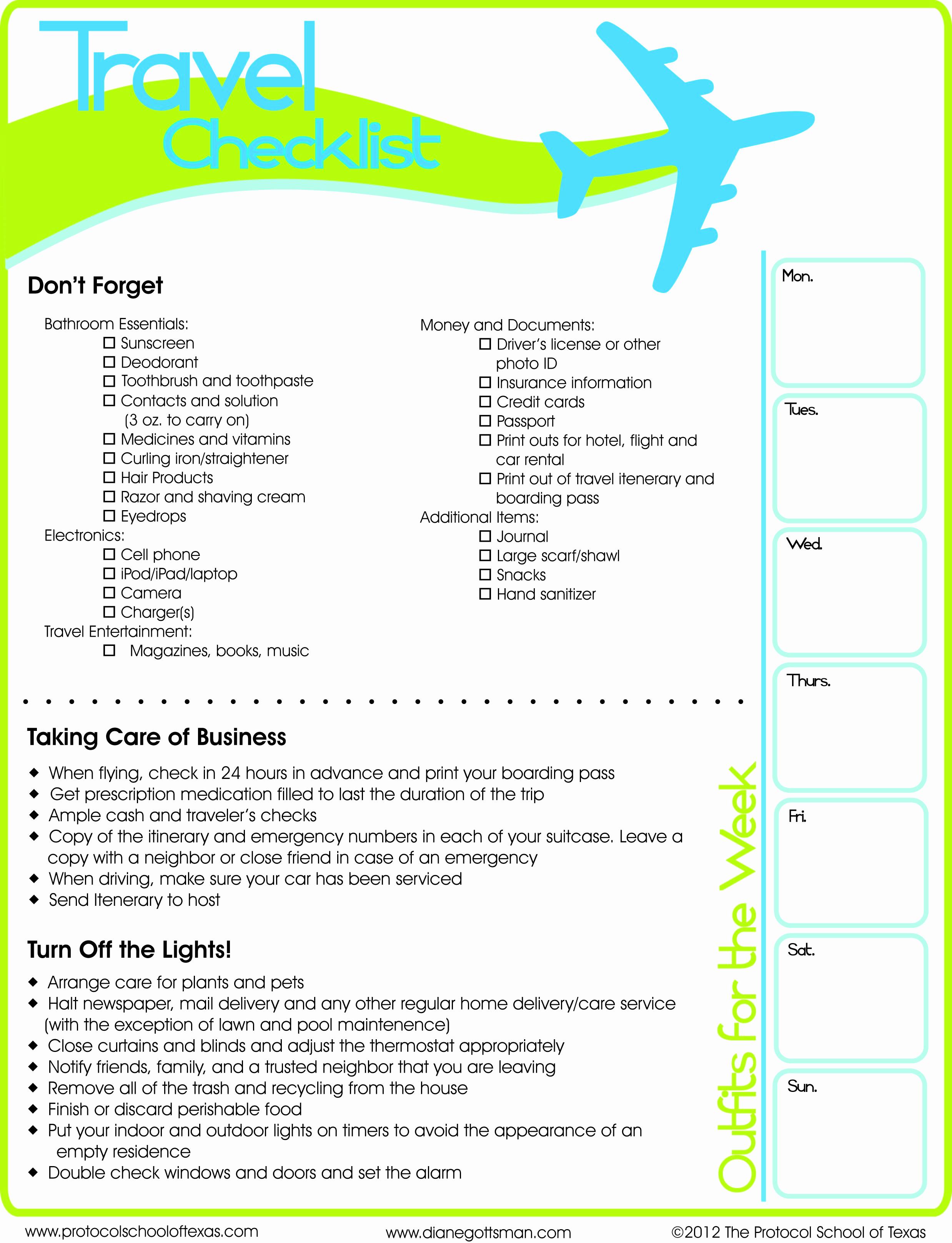 Travel Packing Checklist Pdf Best Of Travel Checklist Printable