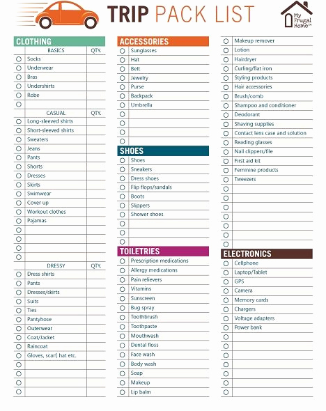 Travel Packing Checklist Pdf Lovely Printable Trip Pack List In 2019 Get organized