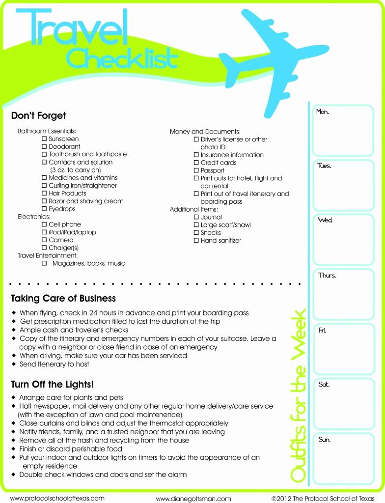 Travel Packing Checklist Pdf Lovely Travel Checklist Printable