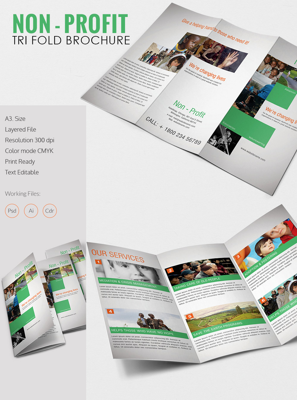 Tri Fold Brochure Size Awesome Amazing Non Profit A3 Tri Fold Brochure Template Download
