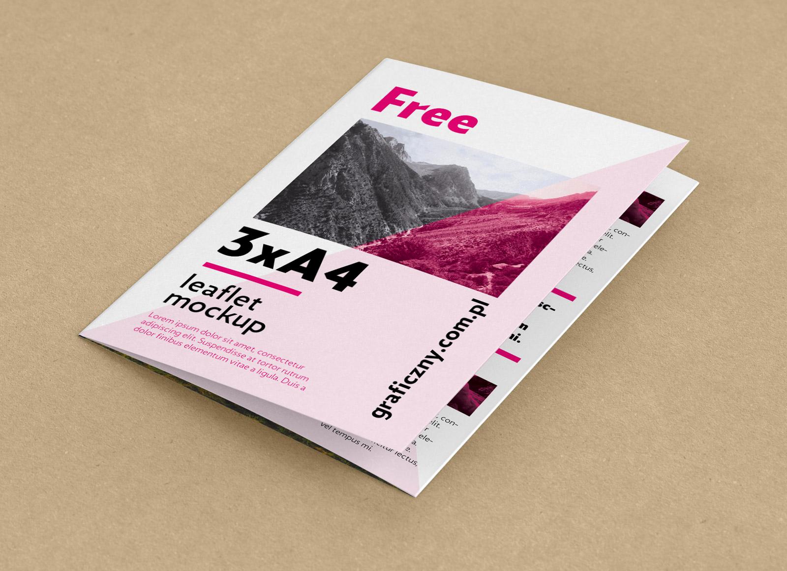 Tri Fold Brochure Size New Free Tri Fold A4 Brochure Mockup Psd Good Mockups