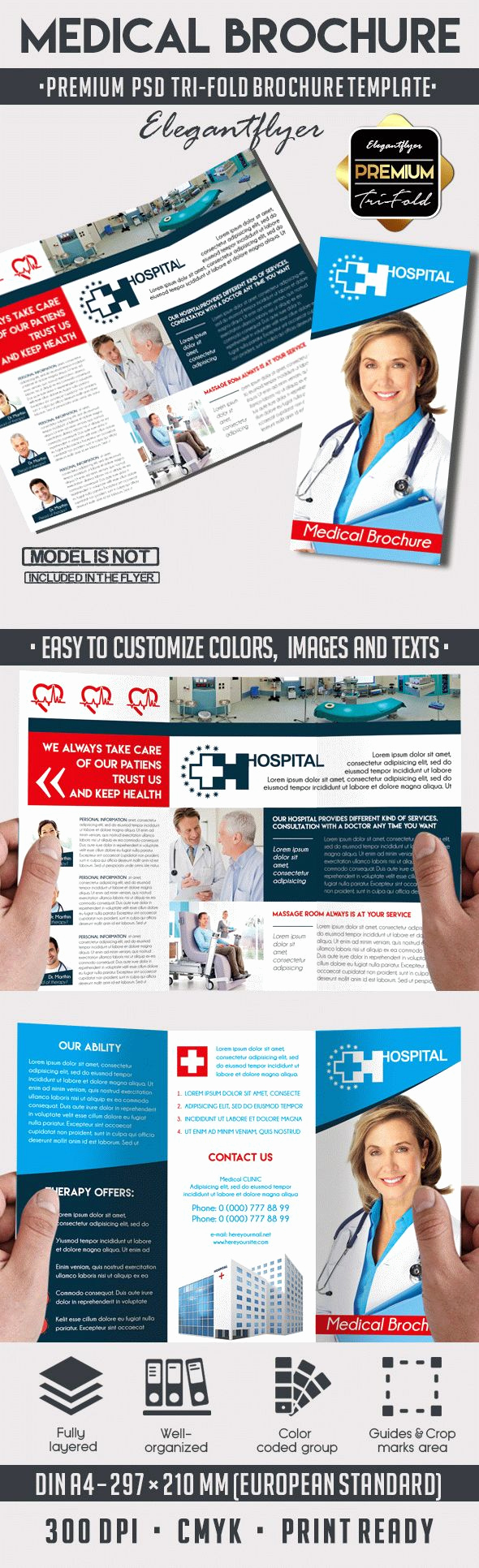 Tri Fold Brochure Template Psd Awesome Medical Tri Fold Psd Brochure Template – by Elegantflyer