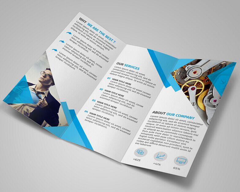 Tri Fold Brochure Template Psd Beautiful Free Modern Blue Tri Fold Brochure Template Psd Titanui