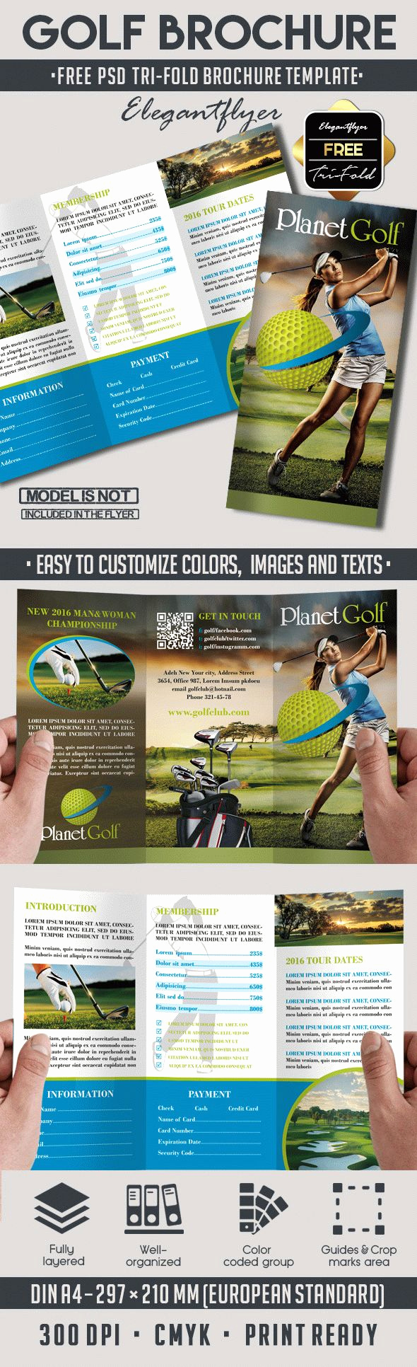 Tri Fold Brochure Template Psd Lovely Golf Club – Free Psd Tri Fold Psd Brochure Template – by