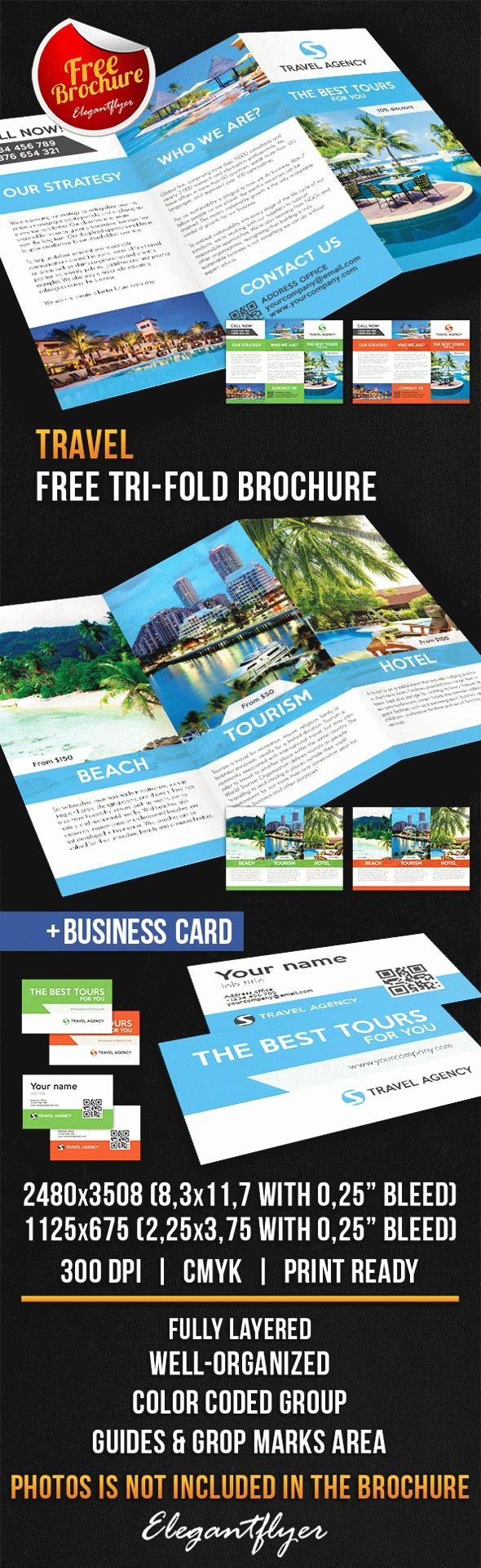 Tri Fold Brochure Template Psd Lovely Travel Tri Fold Brochure – Free Psd Template – by Elegantflyer
