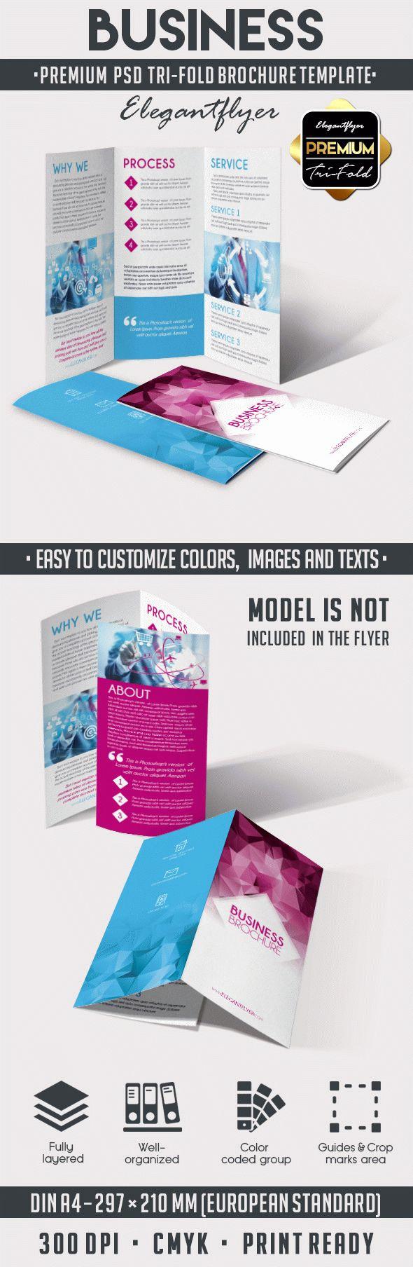 Tri Fold Brochure Template Psd Luxury Business – Tri Fold Brochure Psd Template – by Elegantflyer