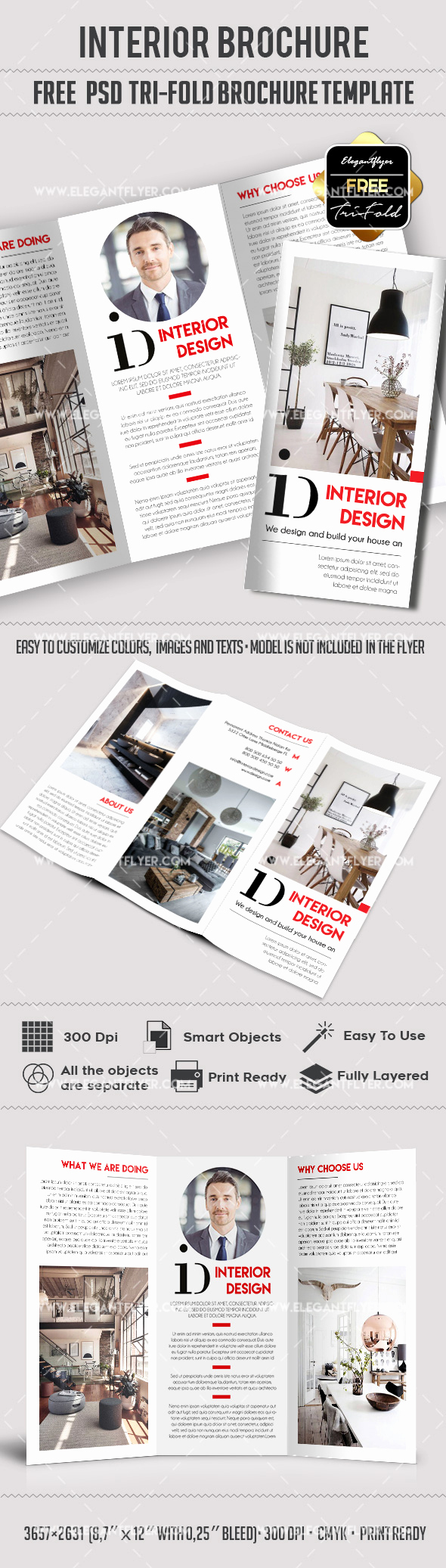 Tri Fold Brochure Template Psd Luxury Interior Design Free Tri Fold Brochure – by Elegantflyer