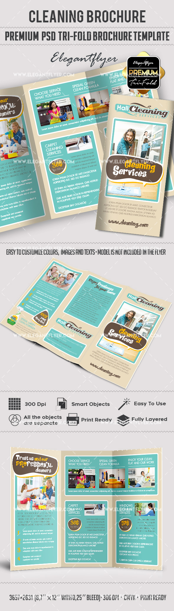 Tri Fold Brochure Template Psd New Psd Brochure for Cleaning Services – by Elegantflyer