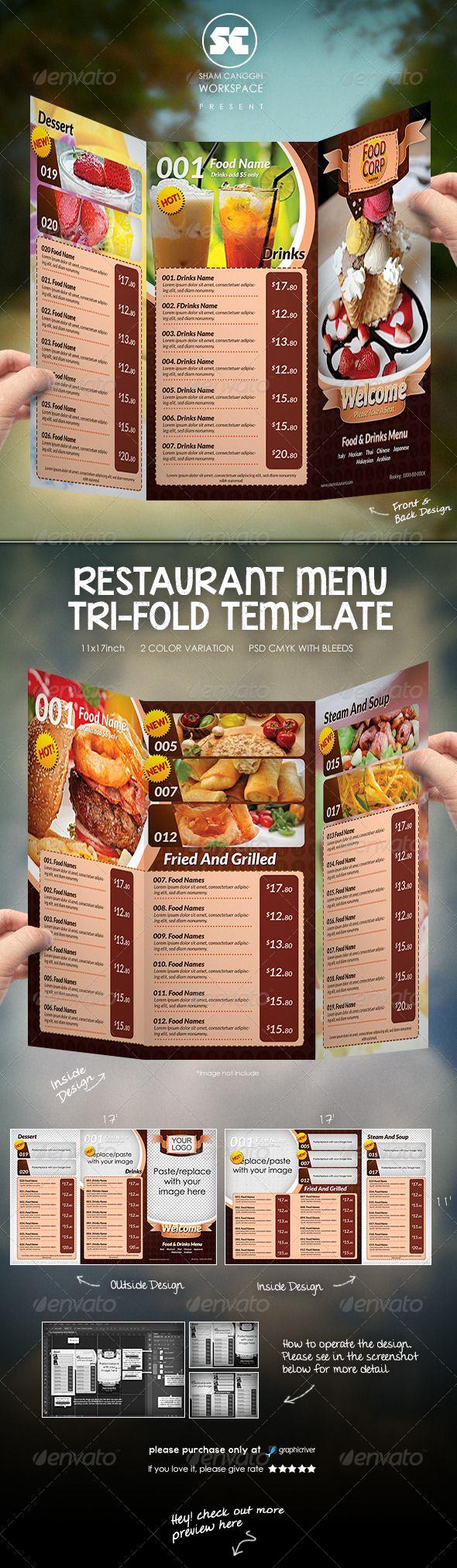 Tri Fold Menu Template Awesome Tri Fold Restaurant Menu Template