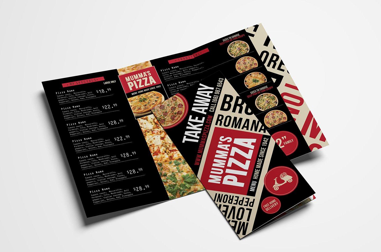 Tri Fold Menu Template Elegant Trifold Pizza Menu Template Brochure Templates