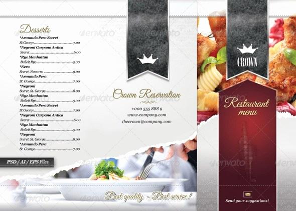Tri Fold Menu Template Fresh 40 Psd & Indesign Food Menu Templates for Restaurants